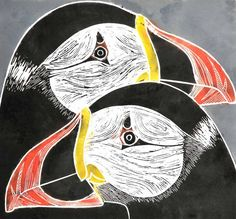 Puffins - linocut - Tessa Charles