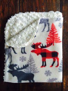 Moose and Fur Baby Blanket / Moose Baby Bedding / Plaid Nursery / Receiving Blanket / Nursery Decor / Toddler Blanket / Woodland Plaid Nursery, Moose Nursery, Nursery Decor, Receiving Blankets, Baby Blankets, Kindergarten, Toddler Blanket, Everything Baby, Baby Time