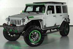 Grey Jeep with Neon Green accents