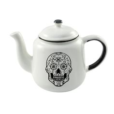 Teapot - Sugar Skull #black #ceramics #day-of-the-dead #enamel #functional-ceramics #gift #handmade-in-cape-town #handmade-in-south-africa #home-decor #made-in-cape-town #made-in-south-africa #mexican-skull #nautical #online-shop #proudly-south-african #south-africa #south-african-designer #sugar-skull #tattoo-inspired #tea-pot #white
