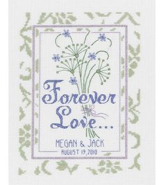Manufacturer: Janlynn Finished Size: 6x8 Forever Love Wedding Sampler can be your one gift to give for a special presant. With Forever Love on it and names and date of the event it will sure be the mo