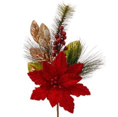 """The Jolly Christmas Shop - Raz 20"""" Red Poinsettia with Gold Leaf and Berries Christmas Spray F3626047, $11.99 (https://www.thejollychristmasshop.com/raz-20-red-poinsettia-with-gold-leaf-and-berries-christmas-spray-f3626047/)"""