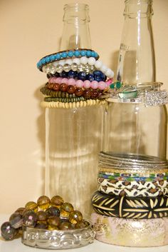 Botella para organizar pulseras