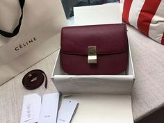 Limited Edition!2016 Celine Bags Outlet-Celine Classic Box in Burgundy Grained Lambskin Leather