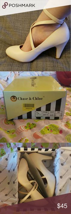 Chase & Chloe Kimmy nude heels 6.5 Really cute. Brand new in box. Size 6.5. Chase and Chloe Shoes Heels