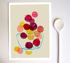 love the way the rich variety of colors are emphasized by the simple geometric subject matter in this print by Ana of Anek etsy shoppe