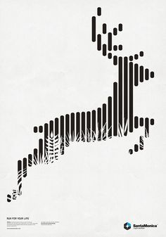 Proximidad - Elements arranged in a curve to present a sense of continuity, creating an imaged of the deer