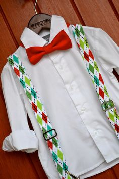 Dressed to Thrill - 2014 Christmas Collection - Red & Green Argyle Suspenders with Solid Red Bowtie www.idresstothrill.com