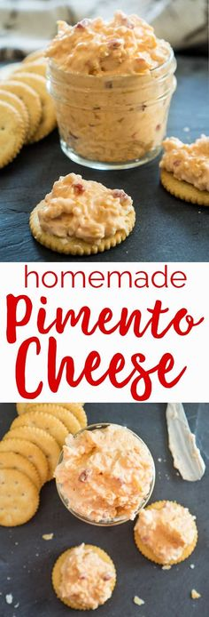 Homemade Pimento Cheese is a classic Southern dip recipe that is a staple in any recipe box. Super easy to make and ready in just ten minutes! Dip Recipes, Appetizer Recipes, Snack Recipes, Cooking Recipes, Recipies, Appetizer Sandwiches, Free Recipes, Cooking Tips, Homemade Pimento Cheese