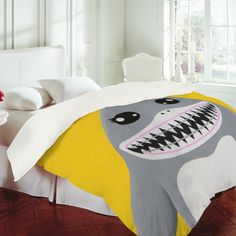 For Parkers big boy room Mandy Hazell Shark Tooth Sally Duvet Cover
