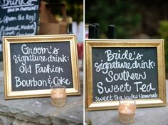 Groom's Signature drink: Old Fasion Jameson & Coke  Bride's Signature drink: Southern Sweet Tea & Vodka