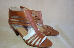 NIB Nine West Shoes Size 6.5 M Heels Brown Leather Strappy Retail $89.00 #NineWest #Strappy