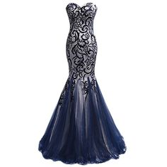 SeasonMall Women's Mermaid Prom Dresses Long Dark Navy Tulle Evening... ($240) ❤ liked on Polyvore featuring dresses