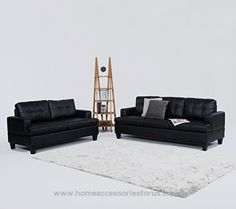 2 Piece Modern Black Bonded Leather Sofa and Love Seat Set  BUY NOW     $989.94    Divano Roma Furniture modern yet classic style living room set with durable black bonded leather upholstery and tufted cushio ..  http://www.homeaccessoriesforus.top/2017/03/16/2-piece-modern-black-bonded-leather-sofa-and-love-seat-set-2/
