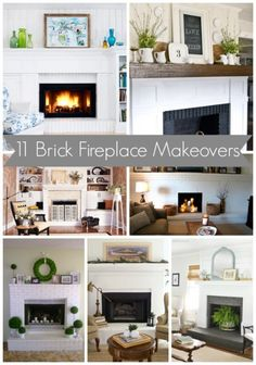 11 Brick Fireplace Makeovers-- Ideas for the family room. Fireplace Redo, Fireplace Remodel, Fireplace Design, Fireplace Makeovers, Fireplace Ideas, Fireplace Mantles, Fireplace Whitewash, Painting Fireplace, Mantel Ideas