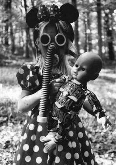 photography girl Black and White child vintage mask war gas mask gas