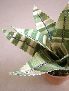 Green stripe Aloe. Fabric potted plant.