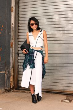 The NYFW Street-Style Looks That Truly Stunned #refinery29  http://www.refinery29.com/2014/09/73987/new-york-fashion-week-2014-street-style-photos#slide79  Margaret Zhang stays within the lines.