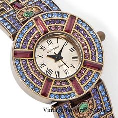 Heidi Daus Coliseum Pave' Multi Color Crystal Bronze Bracelet Watch New Modern #HeidiDaus #Bracelet