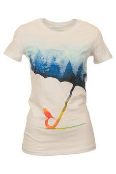 "Look closely to see the umbrella made of a forest landscape. It's so romantic and mysterious! ""Threadless Rainforests Tee - Womens Tees - Birdsnest Buy Online"