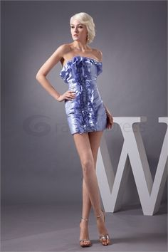 Elegant Sleeveless Sheath/ Column Ruffles #395 Satin Holiday Dress