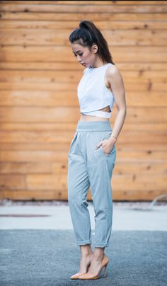 Pants: high waisted pants + crop tops