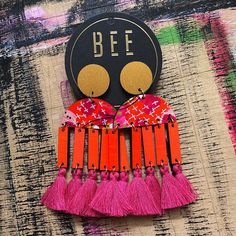 Introducing TIPSY! A brand new design & online now @giftsatteacup ✖ Handmade by the fab @beetwomey ✖✖✖✖ #new #online #boho #online #rural #womeninbusiness #roma #qld #handmade #tassels #earrings #jewels #jewelry #design #art #artist #lifestyle #luxe #pink #orange #gold #boutique #shop #weekend #shopsmall #onlineshopping