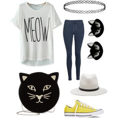 Meow by ellenks on Polyvore featuring polyvore, fashion, style, JVL, Hue, Converse, Charlotte Olympia, Topshop and rag & bone
