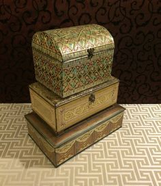 Stunning Group of Three Vintage Tin Boxes with by tinprincess