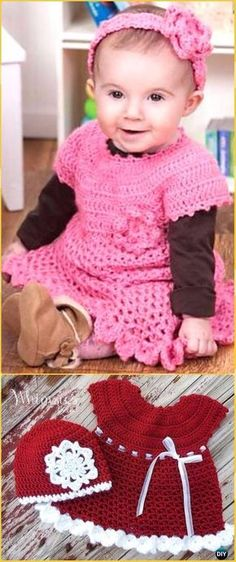 Crochet Little Sweetie Dress & Headband Free Pattern - Crochet Baby Shower Gift Ideas Free Patterns