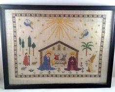 Haandarbejdets Fremme Nativity Linen Framed Completed Cross Stitch Ida Winckler