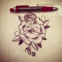 #lady #rose #woman #traditionaltattoo #tattooflash #flash #pen #night #jessicazegretti #jj #jessupersonic