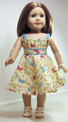 "Summer Dress For 18"" American Girl Doll Emily, Kit, Molly & Julie 'Summer's Last Fling'.  via Etsy."