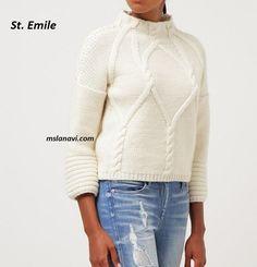 Белый пуловер спицами St. Emile - СХЕМА #ВязаниеСпицами http://mslanavi.com/2016/03/belyj-pulover-spicami-st-emile/