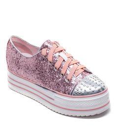 Look what I found on #zulily! Pink Doge Glitter Platform Sneaker #zulilyfinds