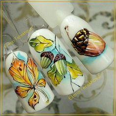 Manicure with leaves - 5 nail art ideas for autumn Fall Nail Art, Autumn Nails, Winter Nails, Nail Ink, Nail Manicure, Trendy Nails, Cute Nails, Summer Holiday Nails, Seasonal Nails