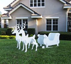 Outdoor Christmas Santa Sleigh and 2 Reindeer Set. Silhouette style Christmas Sleigh and 2 Reindeer Set. Sleigh Tall x Long x Wide. Great for artistic types who would like to customize the set. Outdoor Reindeer Christmas Decorations, Christmas Yard Art, Christmas Deer, Christmas Sleighs, Classy Christmas, Christmas Animals, Christmas Projects, Holiday Decorations, Tree Decorations