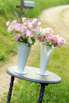 These are by far my Favorite Hobnail Vases. I just Love the Sweet feeling. Kind of Like….a black & white photo…timeless.       Milk Glass Vases Vintage 2 Anchor Hocking by DaydreamingKat, $28.75