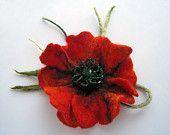 """A felt brooch """"Red poppy"""""""