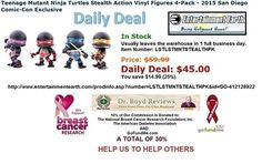 We have had over 19,634 hits since we went into the Affiliate Marketing Business. Usually leaves the warehouse in 1 full business day  Today's Daily Deal: Teenage Mutant Ninja Turtles Stealth Action Vinyl Figures 4-Pack - 2015 San Diego Comic-Con Exclusive http://www.entertainmentearth.com/prodinfo.asp?number=LSTLSTMNTSTEALTHPK&id=GO-412128922