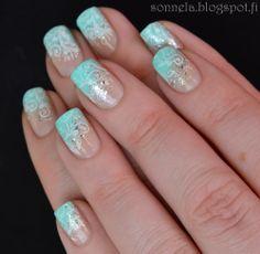 Blue Manicure with Konad