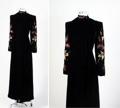 1940s 40s Vintage Beaded Lame Embellished Art Deco Black Velvet Opera Coat L   £193.91 (1B)