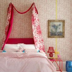 Bedding soultions dont have to be high end--simple fabric hung on bars out of the wall is just as dramatic as a large headboard Neon Bedroom, Floral Bedroom, Summer Bedroom, Home Bedroom, Girls Bedroom, Bedroom Ideas, Bed Ideas, Bedrooms, Living Etc