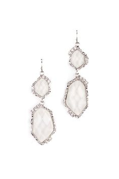 Faceted Stone and Crystal Earrings