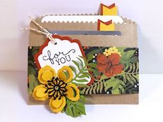 You can turn a small brown paper bag into a cool gift card holder with this tutorial from Bev Gerard. Decorate it with papers, die cuts and stamps. Find a complete step by step tutorial and video o… Small Brown Paper Bags, Gift Card Presentation, Gift Cards Money, Kraft Bag, Scrapbook Paper Crafts, Paper Crafting, Scrapbooking, Paper Gift Bags, Camping Crafts