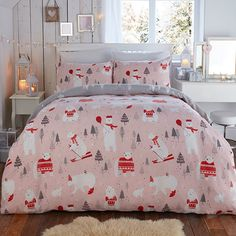 Bedlam Polar Bear Christmas Reversible Duvet Cover Set, Pink, Double