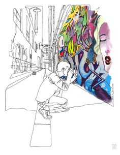 Architectural Drawing Patterns Union Lane - Continuous line drawing of an iconic Melbourne laneway with graffiti. Love Drawings, Drawing Sketches, Contour Drawings, Drawing Tips, Sketching, Drawing Projects, Art Projects, Male Figure Drawing, Observational Drawing