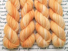 Tangerine Cream Mini Skein / Fingering Weight / 75/25 Superwash Wool Nylon Blend Sock Yarn by AstraeaMeris on Etsy