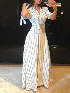 Product Name Fashion Striped Button Long Casual Dresses Brand Shkeys SKU Gender Women Type Dresses Style Sexy/F Elegant Maxi Dress, Classy Dress, Maxi Shirt Dress, Bodycon Dress, Stylish Dresses, Casual Dresses, Formal Maxi Dresses, Dress Outfits, Fashion Dresses