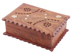 "Bulk Wholesale Jewelry Box with Corrugated Edges – 6.5"" Hand-Carved Keepsake / Trinket Box with Brass Inlay Work – Antique-Look Boxes in Rosewood from India"